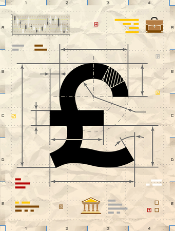 pound sign: Pound sign as technical blueprint drawing