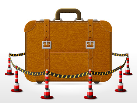 barrier tape: Suitcase located in restricted area. Travel bag surrounded barrier tape. Qualitative  illustration about travel, luggage, tourism, accessory, vacation, baggage, trip, etc