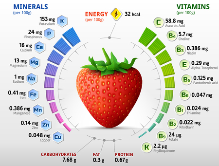 Vitamins and minerals of garden strawberry. Infographics about nutrients in strawberry fruit. Qualitative illustration for strawberry, vitamins, fruits, health food, nutrients, diet, etc
