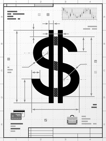 stylized banking: Dollar symbol as technical drawing. Stylized drafting of money sign with title block. Qualitative illustration about banking, financial industry, economy, business, accounting, etc Illustration