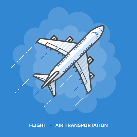 piloting: Flat illustration of white plane against blue background. Flat design of passenger airliner in sky, top view. illustration about flights, plane, travel, aviation, piloting, air transport, etc