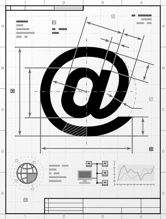 cad drawing: Email symbol as technical drawing. Stylized drafting of mail sign with title block. Qualitative vector image about internet, communication services, information technology, email, etc