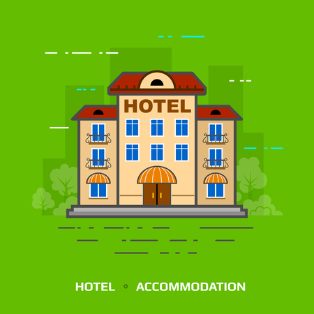 guest house: Flat illustration of hotel against green background. Flat design of hotel building, front view. Vector illustration for hotel, travel, tourism, accommodation, vacation, hotel service, booking, etc