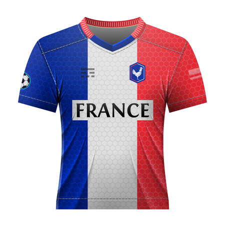 activewear: Soccer shirt in colors of french flag. National jersey for football team of France. Qualitative vector illustration about soccer, sport game, championship, national team, gameplay, etc Illustration