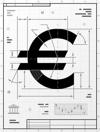stylized banking: Euro symbol as technical drawing. Stylized drafting of money sign with title block. Qualitative vector illustration about banking, financial industry, economy, business, accounting, etc
