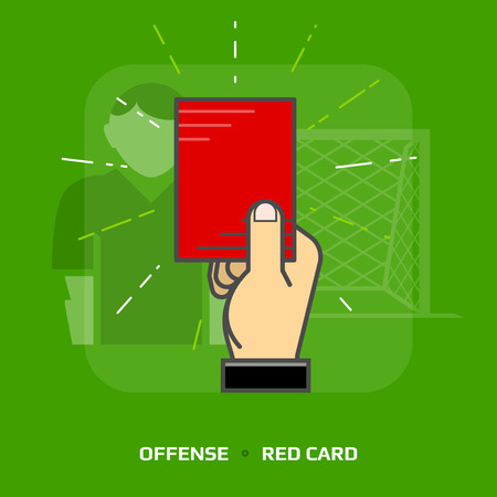 sanction: Flat illustration of penalty card against green background. Flat design of red card for dismissal of player, front view. Vector image about soccer, sport game, football, championship, gameplay, etc