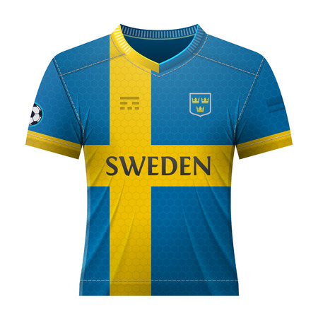 activewear: Soccer shirt in colors of swedish flag. National jersey for football team of Sweden. Qualitative vector illustration about soccer, sport game, football, championship, national team, gameplay, etc