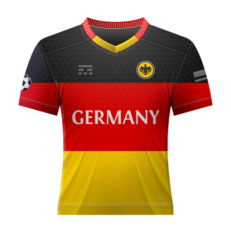 activewear: Soccer shirt in colors of german flag. National jersey for football team of Germany. Qualitative vector illustration about soccer, sport game, football, championship, national team, gameplay, etc