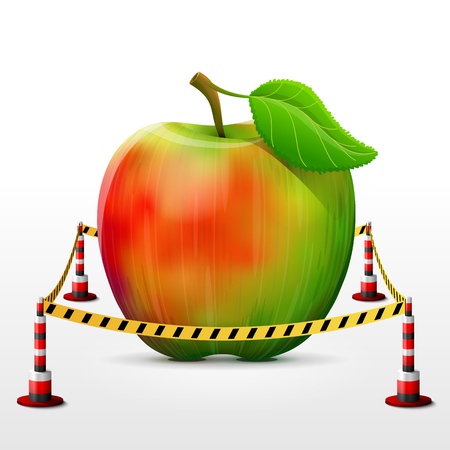 bollard: Apple fruit located in restricted area. Apple with leaf surrounded barrier tape. Qualitative vector illustration about agriculture, fruits, cooking, farming, gastronomy, gardening, etc