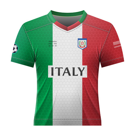 activewear: Soccer shirt in colors of italian flag. National jersey for football team of Italy. Qualitative vector illustration about soccer, sport game, football, championship, national team, gameplay, etc