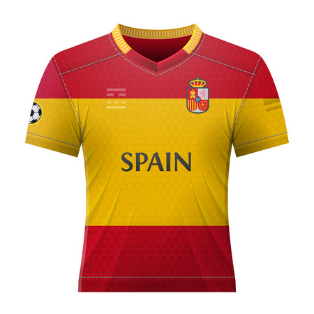 activewear: Soccer shirt in colors of spanish flag. National jersey for football team of Spain. Qualitative vector illustration about soccer, sport game, football, championship, national team, gameplay, etc Illustration
