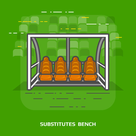 interchange: Flat illustration of soccer substitutes bench against green. Flat design of association football team shelter, front view. Vector image about soccer, sport game, football, championship, gameplay, etc