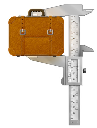 measures: Vertical caliper measures suitcase. Concept of measuring size of travel bag. Vector illustration about travel, luggage, tourism, accessory, vacation, baggage, trip, etc Illustration