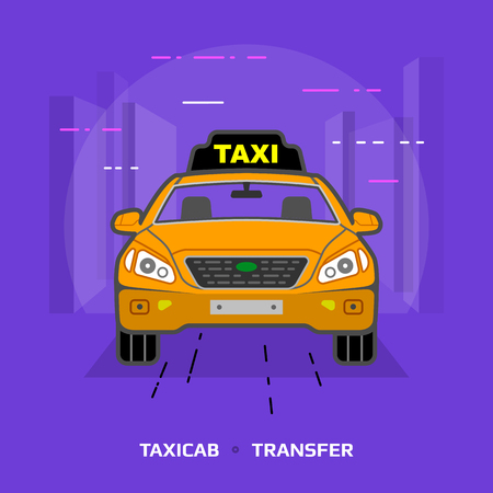 passenger transportation: Flat illustration of taxi car against violet background. Flat design of taxicab, front view. Vector image about transport, taxi, transfer, cab, passenger transportation, vehicle, hackney carriage, etc Illustration