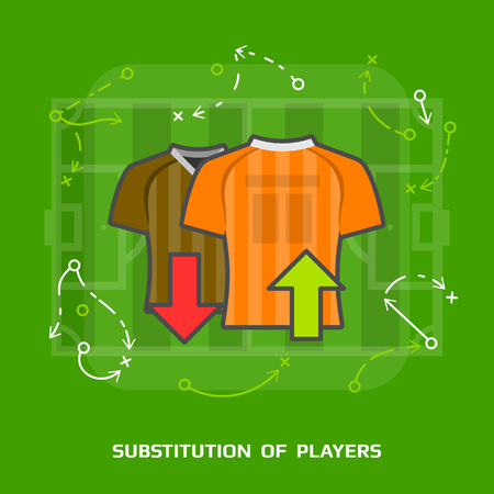 substitution: Flat illustration of soccer substitution against green. Flat design of players exchange in association football, front view. Vector image for soccer, sport game, football, championship, gameplay, etc Illustration