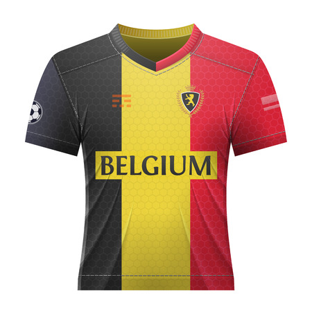 activewear: Soccer shirt in colors of belgian flag. National jersey for football team of Belgium. Qualitative vector illustration about soccer, sport game, football, championship, national team, gameplay, etc