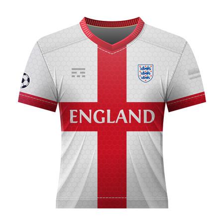 bandera inglesa: camisa del fútbol en colores de la bandera Inglés. maillot nacional para el equipo de fútbol de Inglaterra. ilustración vectorial cualitativa acerca del fútbol, ??juego de deportes, fútbol, ??campeonato, el equipo nacional, modo de juego, etc.