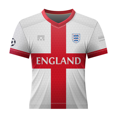 activewear: Soccer shirt in colors of english flag. National jersey for football team of England. Qualitative vector illustration about soccer, sport game, football, championship, national team, gameplay, etc