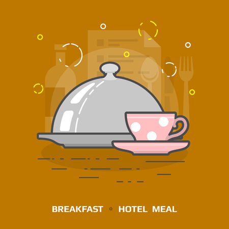 under the bed: Flat illustration of cloche for meal against brown background. Flat design of breakfast under dome, front view. Vector image about hotel meal, restaurant, breakfast in bed, tableware, catering, etc