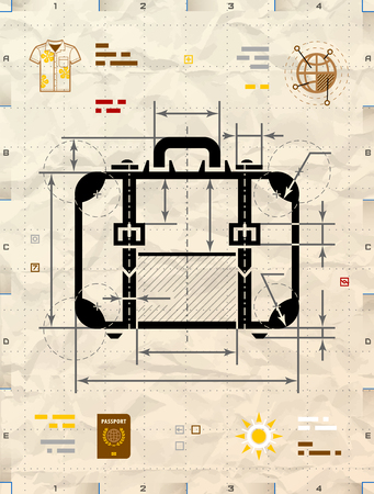 travel bag: Suitcase silhouette as technical blueprint drawing. Drafting of travel bag on crumpled craft paper. Vector illustration about travel, luggage, tourism, accessory, vacation, baggage, trip, etc Illustration
