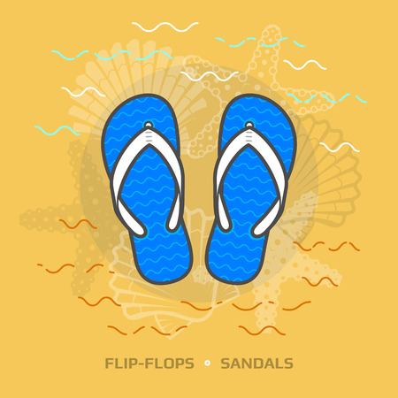beachwear: Flat illustration of flip flops against yellow background. Flat design of beach sandals, top view. Vector image about footwear, recreation, travel, beach vacation, holidays, summer shoes, etc Illustration
