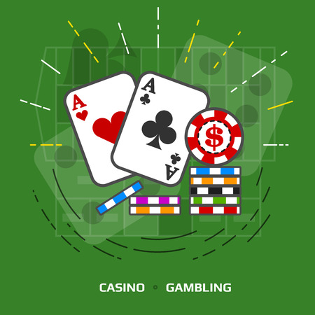 betting: Flat illustration of gambling against green background. Flat design of playing cards and casino chips. image about game of chance, poker, casino, luck, betting, jackpot, gambling, hazard, etc Illustration
