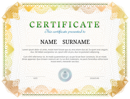 patent: Certificate template with guilloche elements. Yellow diploma border design for personal conferment. image for award, patent, validation, licence, education, authentication, achievement, etc