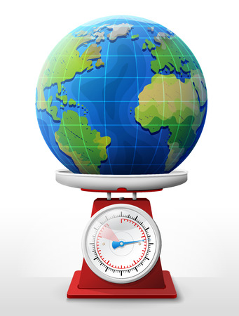 weighing scale: Earth planet on scale pan. Weighing globe with ocean and continents on scales. image for travel, planet Earth, geography, tourism, world map, trip, cartography, etc