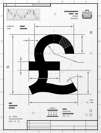 drafting: Pound sterling symbol as technical drawing. Stylized drafting of money sign with title block. Qualitative illustration about banking, financial industry, economy, business, accounting, etc