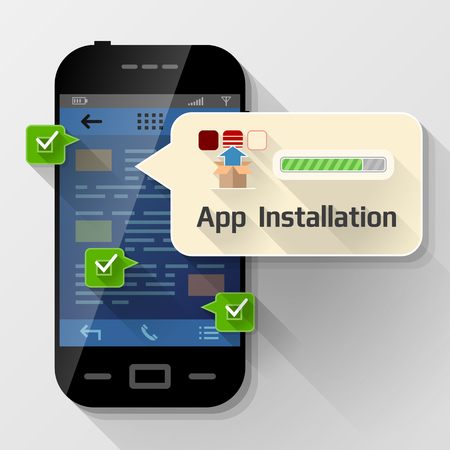 prompting: Smartphone with message bubble about app installation. Dialog box pop up over screen of phone. image about smartphone, communication, mobile technology, notification, application prompting, etc