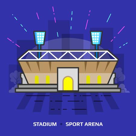 terrain de handball: illustration plat du stade sur fond bleu. Design plat de la construction de l'arène de sport, vue de face. illustration sur le sport, tournoi, jeu, salle de sport, championnat, installations sportives, etc.