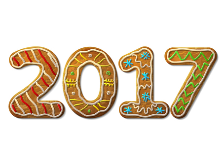 silvester: New Year 2017 in shape of gingerbread isolated on white. Year number as cookies. design element for new years day, christmas, winter holiday, cooking, new years eve, food, silvester, etc