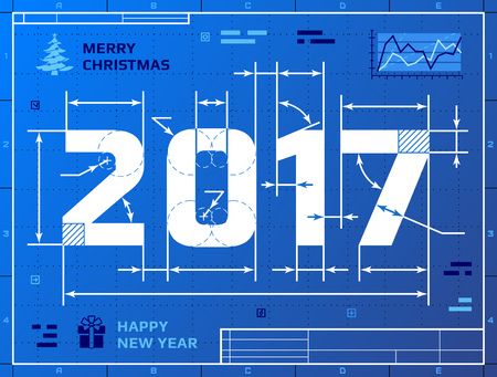 Card of New Year 2017 as blueprint drawing. Stylized drafting of 2017 on blueprint paper. illustration for new years day, christmas, winter holiday, new years eve, engineering, silvester, etc Stock Illustratie