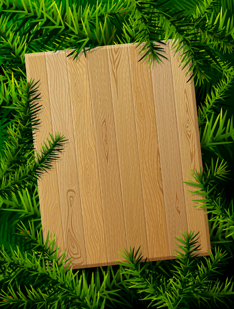 Blank wooden board against pine branches. Christmas template with christmas tree twigs. Qualitative layout for new years day, christmas, winter holiday, new years eve, silvester, etc