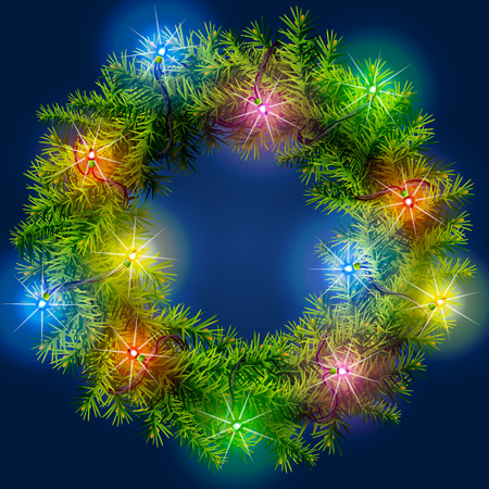 irradiation: Christmas wreath with light garland. Decorated wreath of pine branches. Qualitative illustration for new years day, christmas, winter holiday, decoration, new years eve, design, silvester, etc