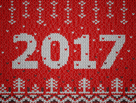 tricot: Card of New Year 2017 with knitted texture. Christmas jumper fragment with 2017 New Year. illustration for new years day, christmas, winter holiday, new years eve, knitting, silvester, etc Illustration