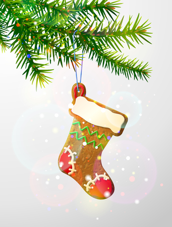 christmas cookies: Christmas tree branch with decorative cookie. Gingerbread christmas stocking hanging on pine twig. image for new years day, christmas, winter holiday, decoration, new years eve, design, etc