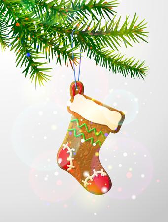 galletas de navidad: rama de un árbol de Navidad con galletas decorativas. media de la navidad del pan de jengibre que cuelga en la ramita del pino. Imagen de Día de Año Nuevo, Navidad, vacaciones de invierno, decoración, noche vieja, diseño, etc.
