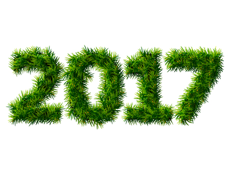 silvester: New Year 2017 of christmas tree branches isolated on white. Empty pine twigs in shape of number 2017. Vector design element for new years day, christmas, winter holiday, new years eve, silvester, etc