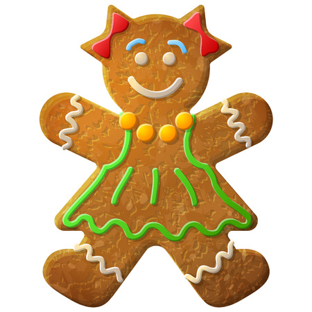 Gingerbread woman decorated colored icing. Holiday cookie in shape of girl. Qualitative vector illustration for new years day, christmas, winter holiday, cooking, new years eve, food, silvester, etc Illustration