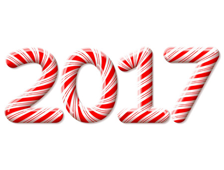 candies: New Year 2017 in shape of candy stick isolated on white. Year number as striped holiday candies. Vector design element for christmas, new years day, sweet-stuff, winter holiday, new years eve, food Illustration