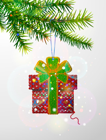 Christmas tree branch with decorative knitted gift. Gift box of knitted fabric hanging on pine twig. Vector image for christmas, new years day, design, winter holiday, decoration, silvester, etc