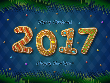 silvester: Card of New Year 2017 in shape of gingerbread. Cookies with pine branches on striped background. Vector design element for new years day, christmas, winter holiday, new years eve, silvester