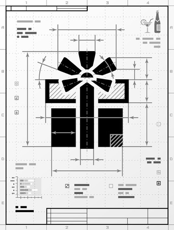 donative: Gift symbol as technical drawing. Stylized drafting of gift box with title block. Qualitative vector illustration for holiday, packaging supplies, congratulation, gift wrapping, packaging, etc