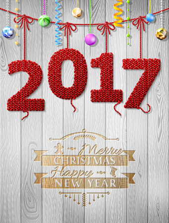 knit: New Year 2017 knitted fabric as christmas decoration. Christmas congratulation against wood background. Vector illustration for new years day, christmas, winter holiday, new years eve, silvester, etc Illustration