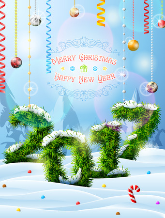 New Year 2017 of christmas tree twigs in snow. Winter landscape with pine branches, decoration, congratulation. Vector image for new years day, christmas, winter holiday, new years eve, silvester, etc
