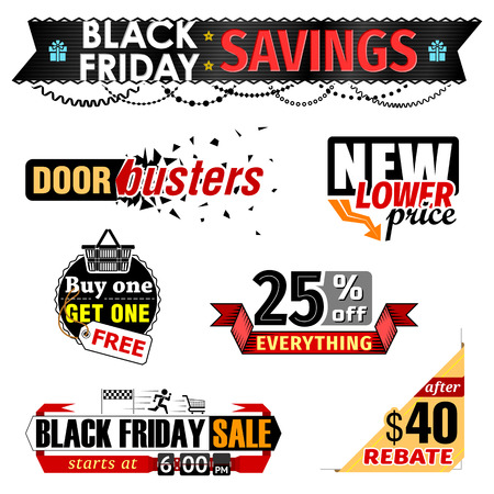 price reduction: Black Friday Sale banner elements. Set of tags for christmas sales, holiday shopping. Vector image for christmas, sales, new years day, discount, winter holiday, shopping season, price reduction, etc