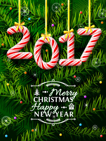 sweetstuff: New Year 2017 in shape of candy stick against pine branches. Year number like holiday candies. Vector illustration for new years day, christmas, winter holiday, sweet-stuff, new years eve, food, etc