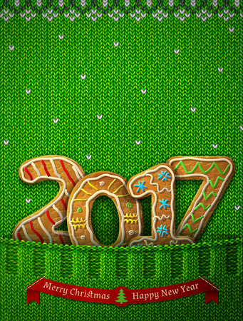 silvester: New Year 2017 in shape of gingerbreads in knitted pocket. Jumper fragment with year number like cookies. Vector illustration for new years day, christmas, cooking, winter holiday, food, silvester, etc