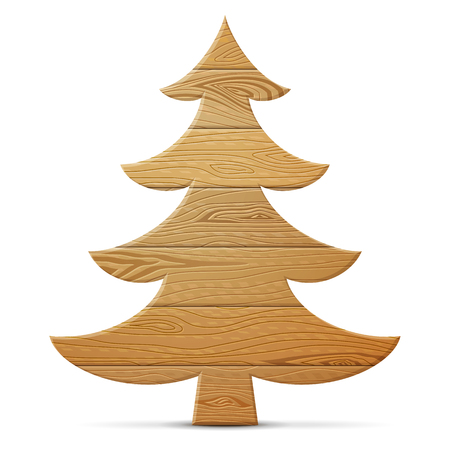 Christmas tree of wood isolated on white background. Wooden planks in shape of pine. Vector illustration for new years day, christmas, woodworking, winter holiday, new years eve, silvester, etc